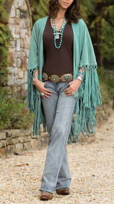 Southwest bootcut denim with fringe