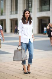 East Coast cropped denim jeans and white button down