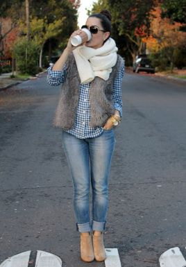 Northwest style skinny rolled jeans and plaid shirt