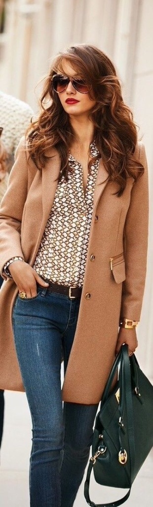 camel coat with patterned button down and fitted jeans