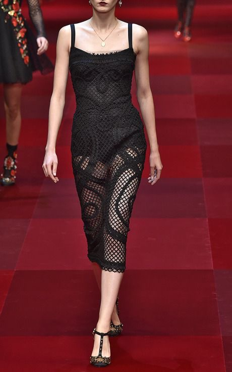 black mesh lace sheath dress Runway 2015