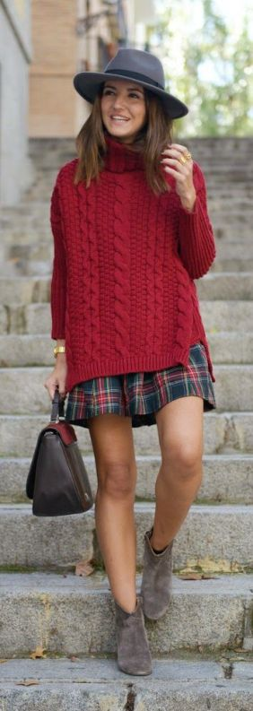 cable knit sweater and plaid skirt