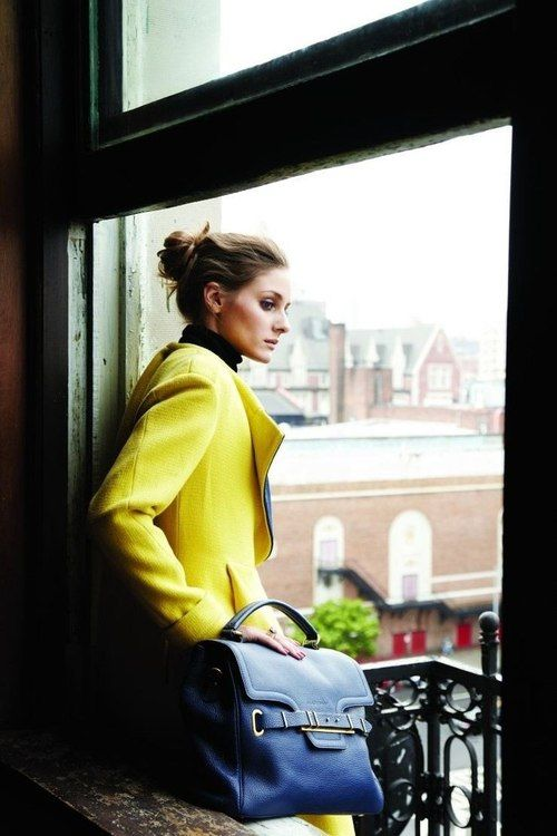 canary yellow leather jacket and handbag