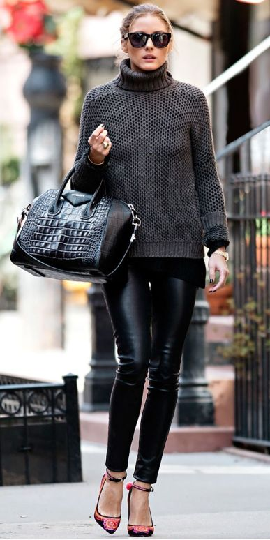Olivia Palermo in black leather leggings