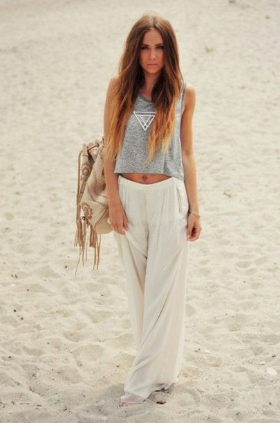 White lounge pants street style