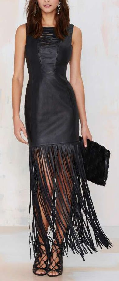 black leather fringe dress for Fall