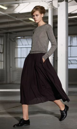 90's style midi skirt and slouchy sweater