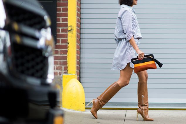 shirt dress and knee high boots for Fall