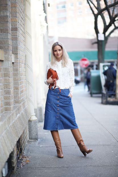 denim midi skirt and knee high boots
