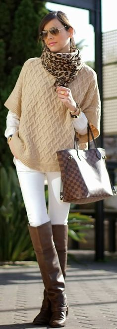 sand sweater and ivory leggings