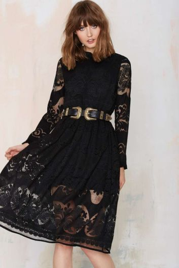 Victorian styled black lace dress Fall 2015