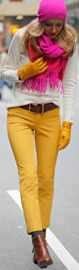 yellow jeans and pink scarf and hat for Fall