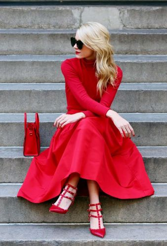 red holiday dress Fall 2015