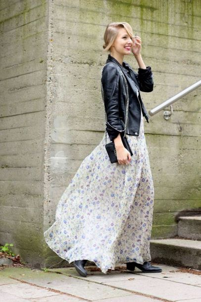 floral maxi dress and leather jacket for Fall