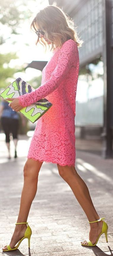 pink dress with yellow accessories for Fall 2015