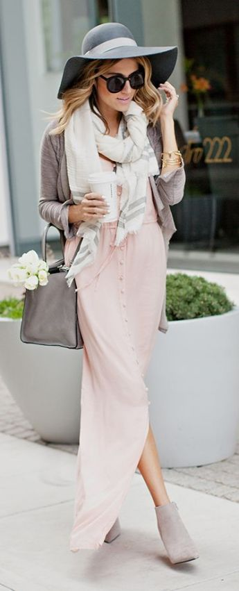 powder pink maxi dress Fall 2015