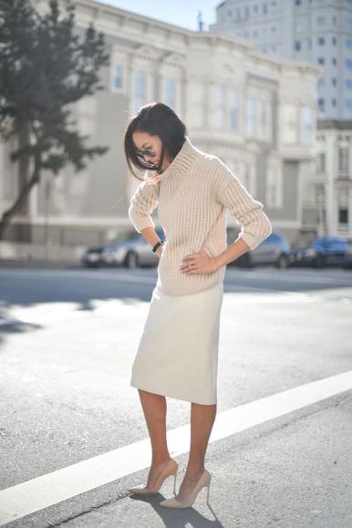 sand sweater paired with an ivory pencil skirt