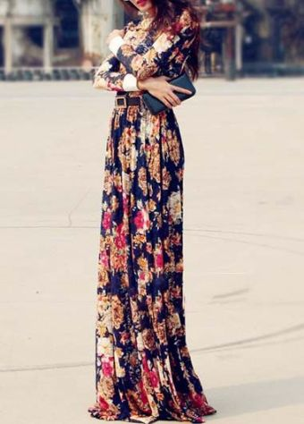 flower patterned maxi dress Fall 2015