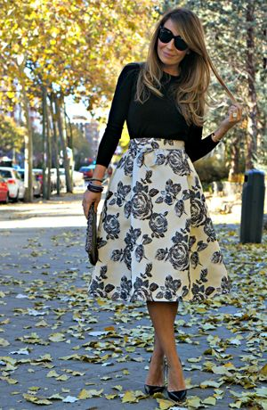 black blouse and floral midi skirt for Fall weddings