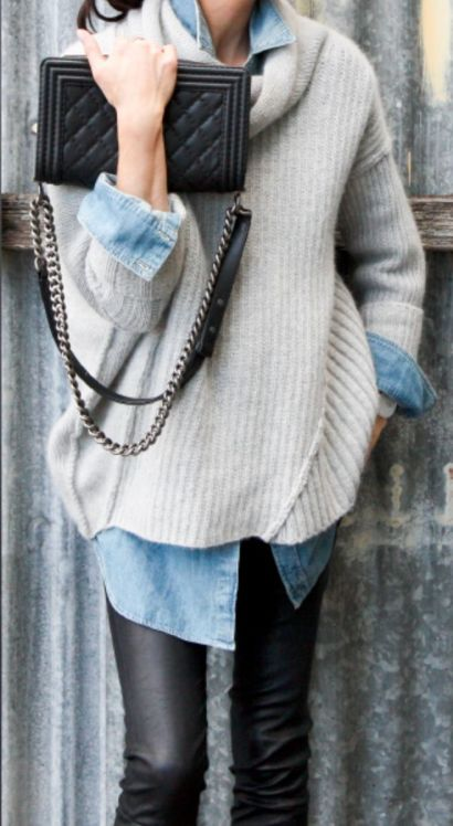 denim blouse and knit sweater for Fall