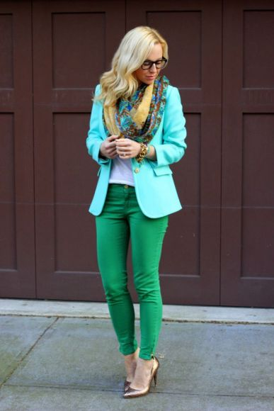 blue jacket and green skinny pants for Fall 2015