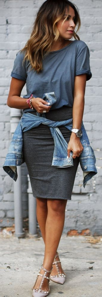 denim blouse and gray Tee and skirt combo