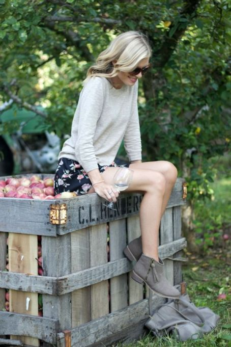 Sweater and floral skirt for apple picking