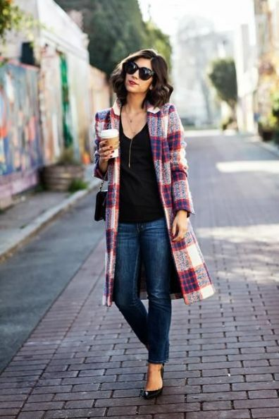 plaid overcoat for Winter