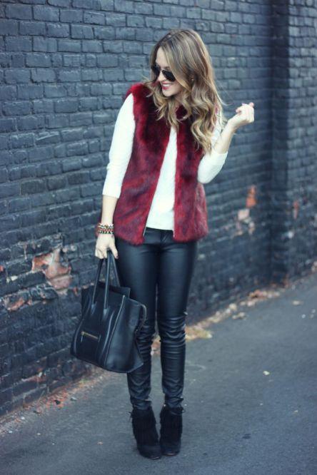 red fur vest