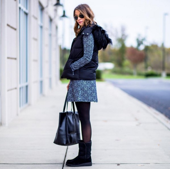 over-opaque-black-tights-paired-furry-vest-dress-png